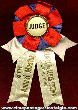 1930 Firemen's Muster Judge Ribbon / Badge