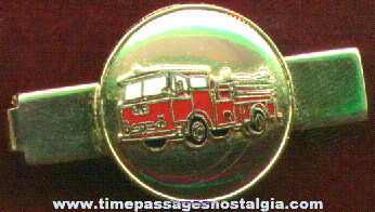 Enameled Fire Truck Engine Neck Tie Bar