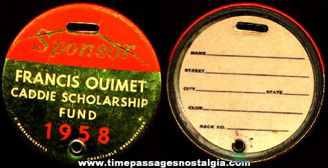 1958 Francis Ouimet Caddie Scholarship Fund Sponsor Identification Golf Badge