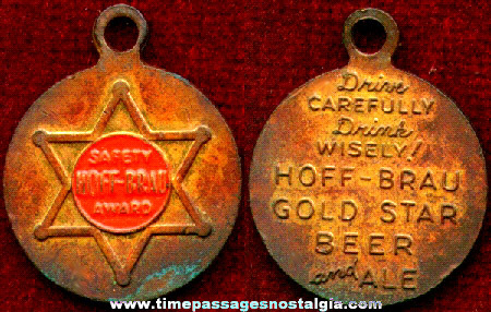 Old Hoff - Brau Gold Star Beer And Ale Advertising Key Chain Fob Or Medallion Employee Safety Award