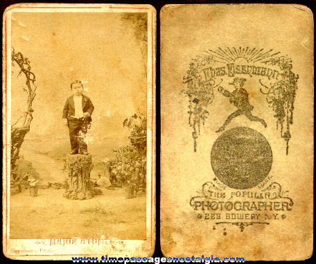 """Early """"Major Atom"""" Midget Photograph Card"""
