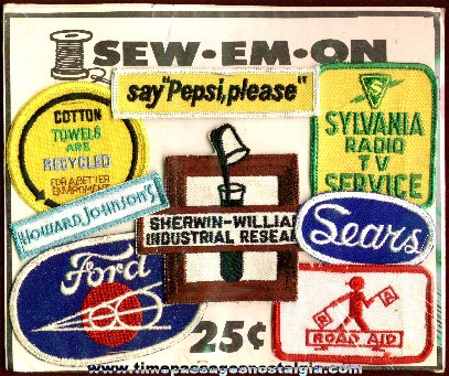 Early 1970's Gum Ball Machine Header Card With Company Advertising Patches