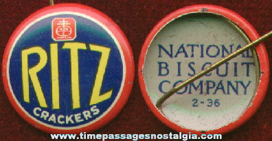 1936 National Biscuit Company (Nabisco) RITZ Cracker Advertising Pin Back Button