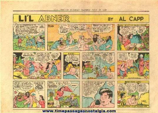 �1940 Li'l Abner 1/2 Page Color Newspaper Comic Strip