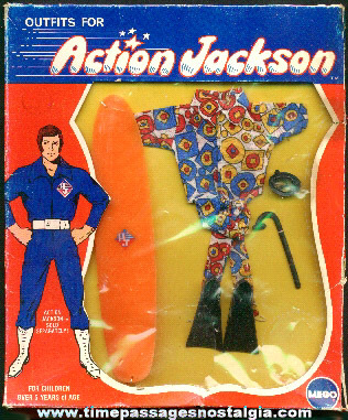 �1971 Packaged MEGO Action Jackson Surfing And Scuba Outfit #1118