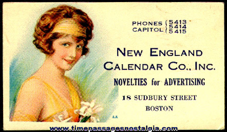 Colorful Old New England Calendar Company Business Card