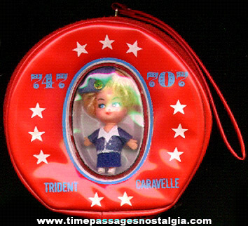 Old Vinyl Candy Container Purse With An Encased Doll