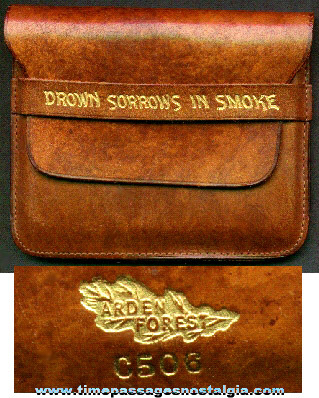 Old Gold Embossed Leather Cigarette Case