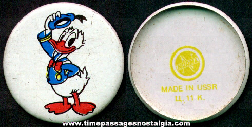 Old Russian Made Donald Duck Pin Back Button