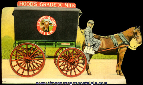 Old Diecut Hood's Milk Advertising Ink Pen Blotter