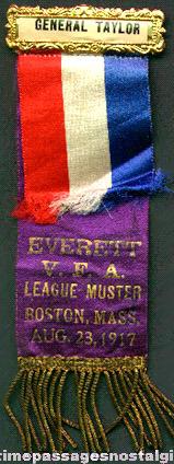 1917 General Taylor Volunteer Firemans Association League Muster Ribbon / Badge