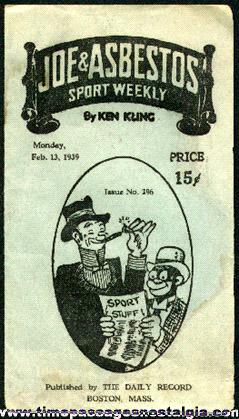 1939 Joe & Asbestos Sport Weekly Booklet by Ken Kling
