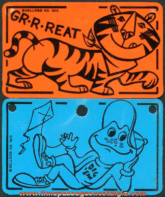 (2) Different ©1973 Kellogg's Cereal Advertising Character Toy Prize License Plates
