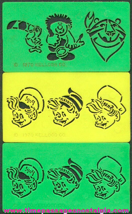 (3) Old Kellogg's Cereal Advertising Character Stencil Prizes