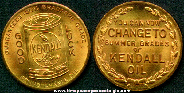 Old Kendall Motor Oil Advertising Coin