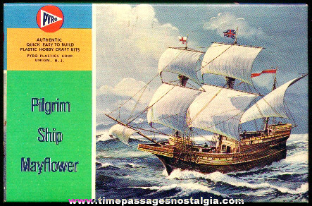 Complete Boxed Pyro Plastics Pilgrim Ship Mayflower Model Kit