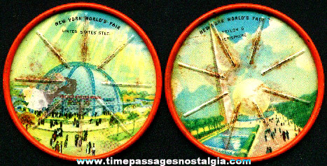 (2) 1939 - 1940 New York World's Fair Lithographed Tin Drink Coasters