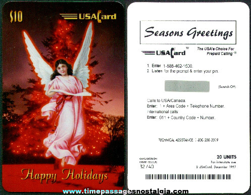 "Extremely Limited (#32 of 40) USA Cards ""Happy Holidays"" $10.00/20 units Jumbo Angel Phone Card"