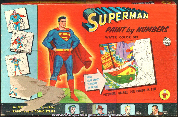 1954 Superman Transogram Paint By Numbers Water Color Set