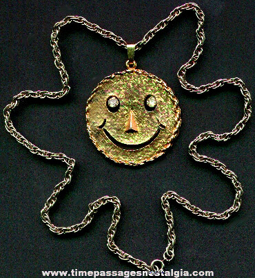 1960's Smile Face Necklace With Dangling Rhinestone Eyes