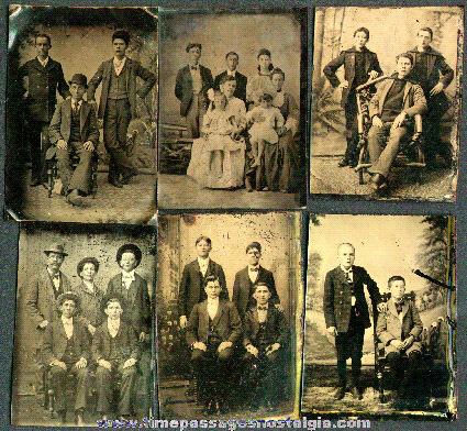 (6) Tin Type Group Photographs