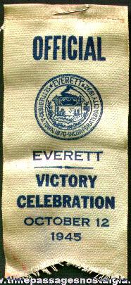 1945 Everett (Massachusetts) WWII Victory Celebration Official Ribbon