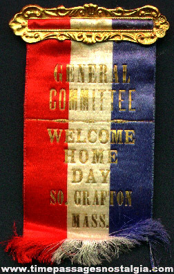 South Grafton (Massachusetts) WWI Welcome Home Day General Committee Ribbon