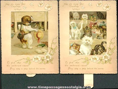 Nice Early Dog & Cats Mechanical Christmas Greeting Card