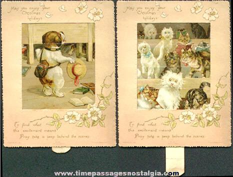 Nice Early Dog & Cats Mechanical Christmas Greeting Card
