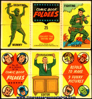 1966 Comic Book Foldees Bubble Gum Card With Super Heroes