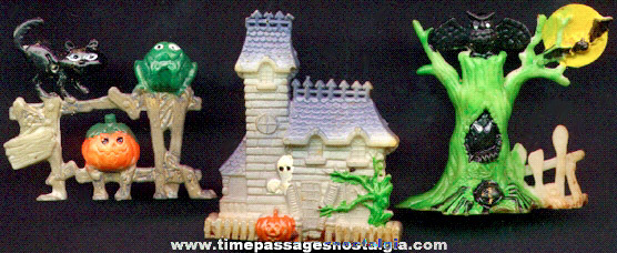 (3) Old Halloween Cake Decorations