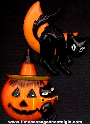 (2) Old Halloween Cake Decorations