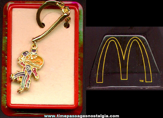 1979 McDonald's Mayor McCheese Enameled Key Chain In A Dome Bank Package