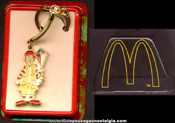 1979 McDonald's Ronald McDonald Enameled Key Chain In A Dome Bank Package