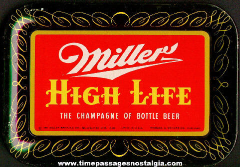 ©1952 Tin Lithographed Miller Beer Tip Tray