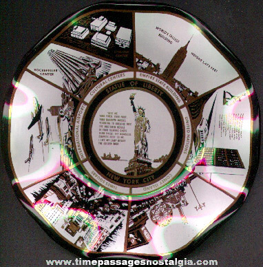 New York City Advertising Souvenir Glass Ashtray