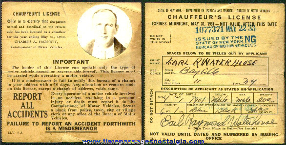 1933 State Of New York Chauffeur's Photo License