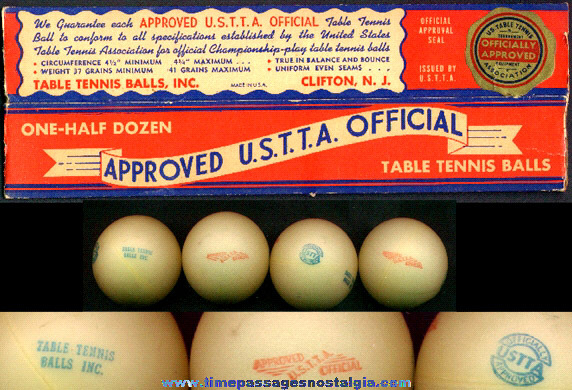 Old Table Tennis Balls Box With Four Old Balls