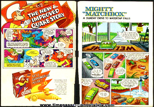 Old Two Sided Quake Cereal and Matchbox Cars Advertising Page