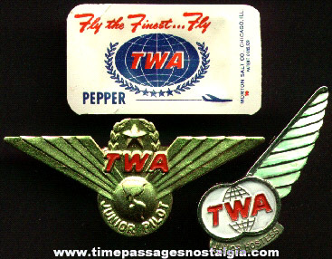 (3) Old Trans World Airlines (TWA) Items