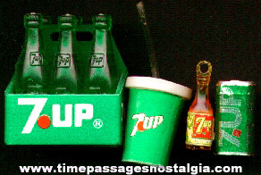 (4) Miniature 7-Up Soda Advertising Items