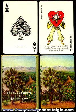 Old Boxed Set Orange Grove & Mountains Playing Cards