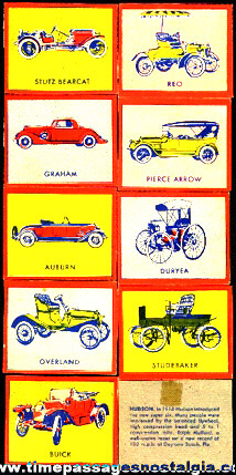 (9) (Wheaties?) Antique Automobile Trading Cards