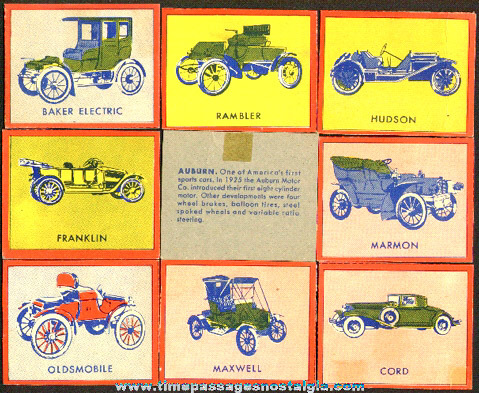 (8) (Wheaties?) Antique Automobile Trading Cards