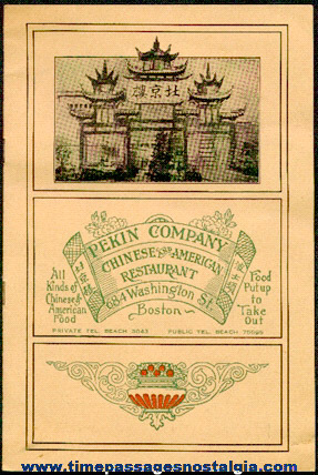 Old Pekin Company Chinese And American Restaurant Menu