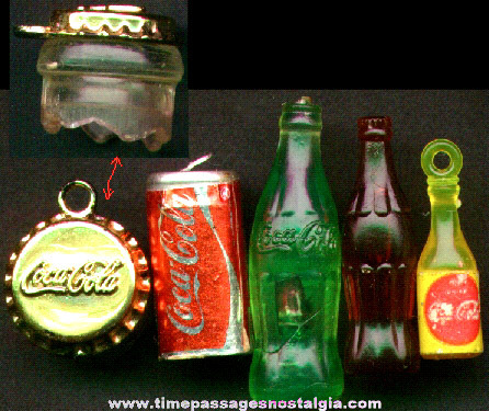 (5) Old Miniature Coca - Cola Soda Advertising Items