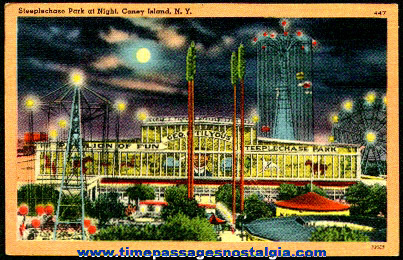 Old George C. Tilyous Steeplechase Park Pavilion Of Fun Coney Island Post Card