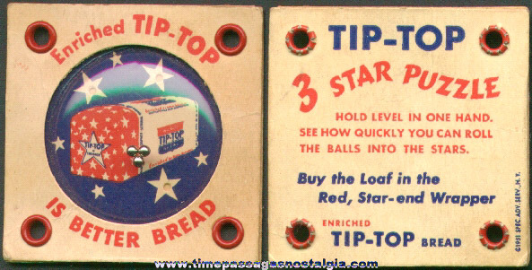 1951 Tip - Top Bread Advertising Premium Dexterity Puzzle