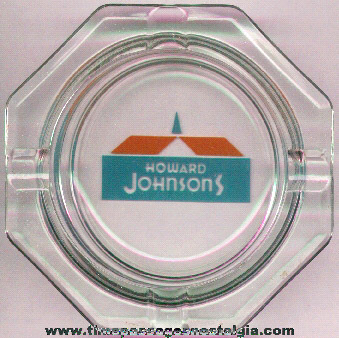 Howard Johnson's Restaurant Advertising Glass Ashtray