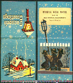 Old Unused Over Sized Wishing Well Motel Advertising Christmas Premium Match Pack